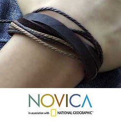 Genuine Leather 'Brown Riddles' Bracelet (Thailand) - Thumbnail 1