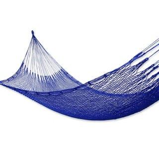 Blue Sonata Outdoor Beach Garden Patio Pool Handmade Knotted Rope-style Nylon Single Hammock (Mexico)|https://ak1.ostkcdn.com/images/products/3291282/P11392138.jpg?impolicy=medium