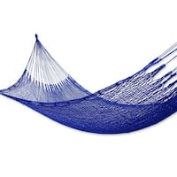 Handmade Blue Sonata Outdoor Beach Garden Patio Pool Handmade Knotted Rope-style Nylon Single Hammock (Mexico)