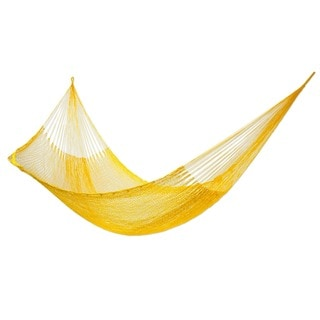 Orange Sonata Outdoor Beach Garden Patio Pool Blue Durable Unique Handmade Knotted Rope Style Nylon Single Hammock (Mexico)