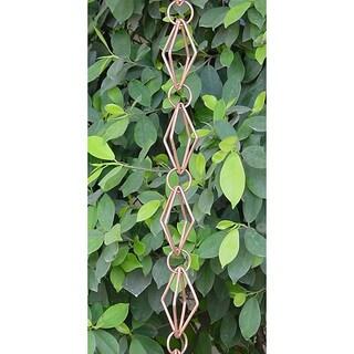 Monarch Pure Copper Diamond Rain Chain 8.5-Foot Inclusive of Cross Bar For Installation