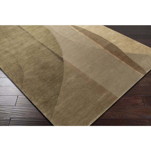 Hand-knotted Brown Contemporary Soldeu Collection Wool Abstract Area Rug - 5' x 8'