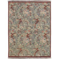 Hand-Knotted Legacy Collection Floral Wool Area Rug - 8' x 10'