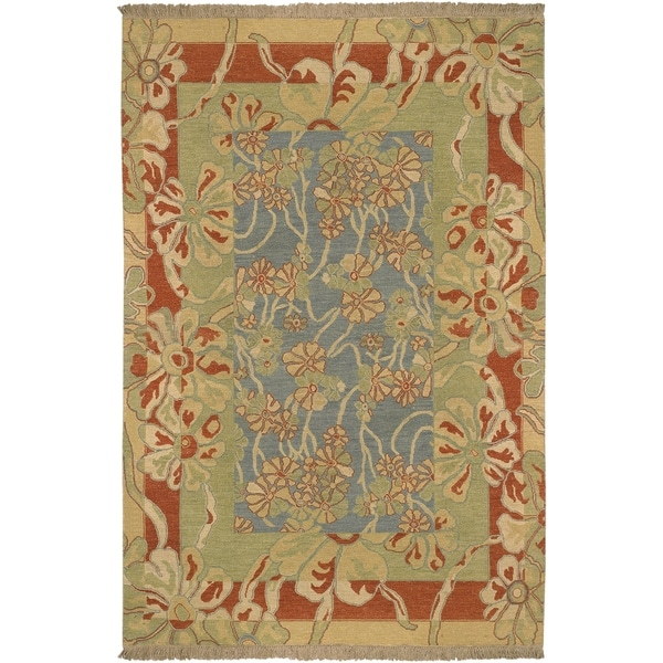 Hand-Knotted Legacy Collection Floral Wool Area Rug - 10' x 14'