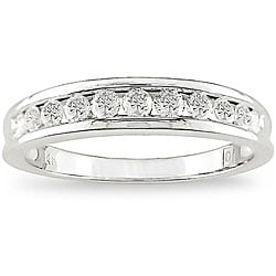 14k White Gold 1/2ct TDW Channel-Set Diamond Anniversary Band by Miadora