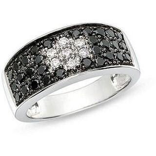 Miadora 14k Gold 1ct TDW Black and White Diamond Ring
