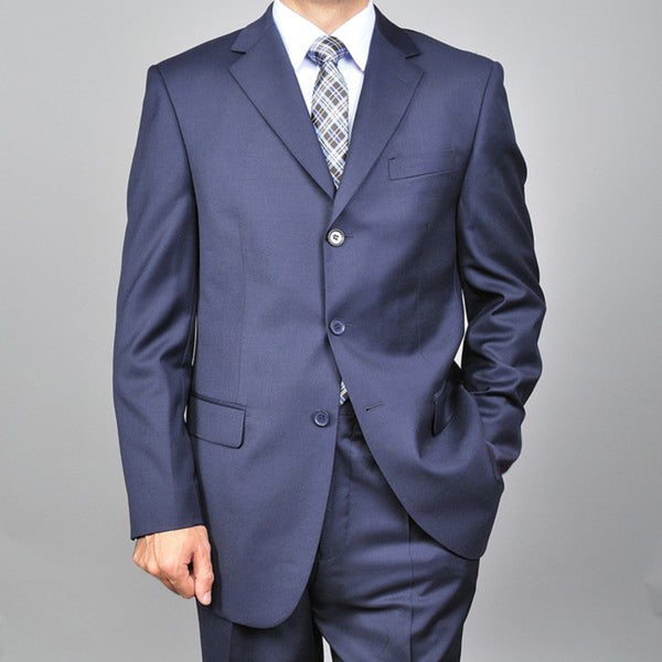 Red LabeledMen's Navy 3-button Wool Suit
