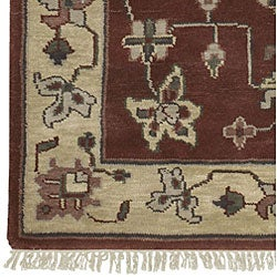 Hand-knotted Burgundy/Ivory Southwestern Park Ave  Wool Rug (5'6 x 8'6)