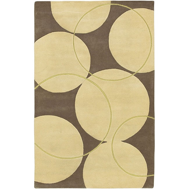 Shop Hand Tufted Brown Contemporary Circles Vougue New