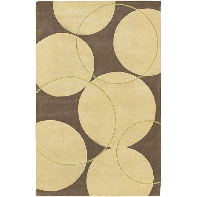 Shop Hand Tufted Brown Contemporary Circles Vougue New