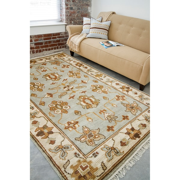 Hand-knotted Light Blue Southwestern Park Ave New Zealand Wool Rug (9' x 13')