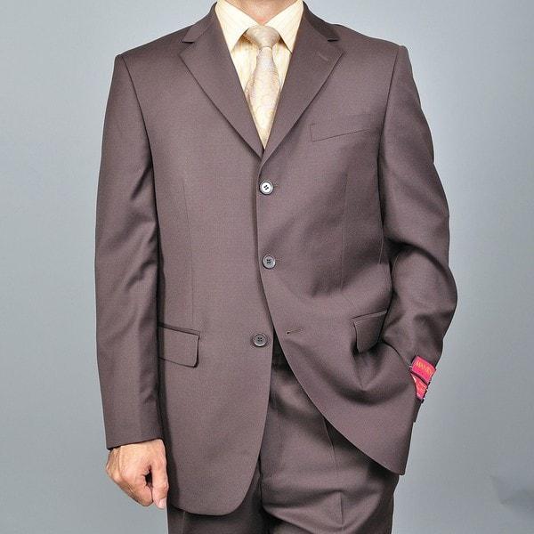 Men's Brown 3-button Wool Suit