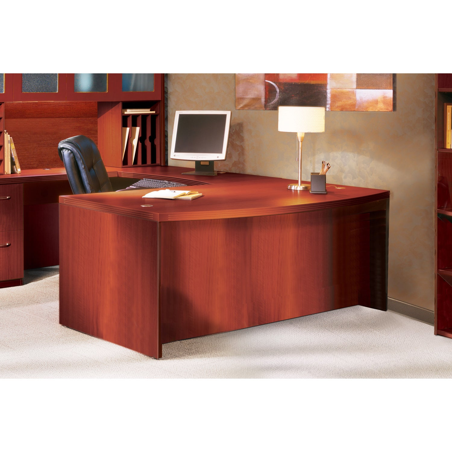 Mayline Aberdeen 72-inch Cherry Bow Front Desk Shell (Che...