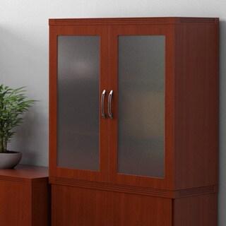 Mayline Aberdeen Glass Cherry Storage Cabinet