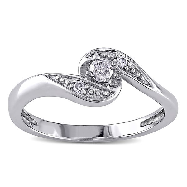 Miadora 10k White Gold Diamond Promise Ring ( I/J, I2-I3)