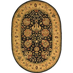 Safavieh Handmade Antiquities Mashad Black/ Ivory Wool Rug (7'6 x 9'6 Oval)
