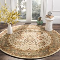 "Safavieh Handmade Antiquities Mashad Ivory/ Green Wool Rug - 3'6"" x 3'6"" round"