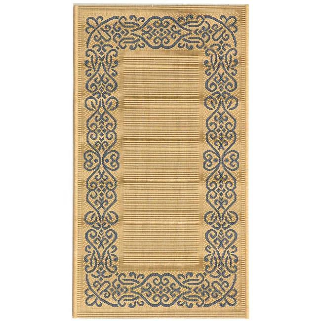 Safavieh Indoor/ Outdoor Ocean Natural/ Blue Rug (2'7 x 5')