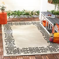 Safavieh Ocean Sand/ Black Indoor/ Outdoor Rug - 6'7 x 9'6