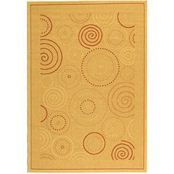 Safavieh Indoor/ Outdoor Resort Natural/ Terracotta Rug (8' x 11')