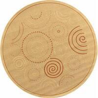 Safavieh Ocean Swirls Natural/ Terracotta Indoor/ Outdoor Rug (5'3 Round) - 5'3 round