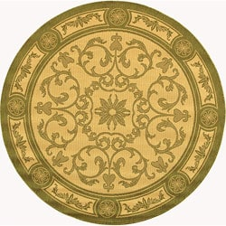 """Safavieh Beaches Scrollwork Natural/ Olive Green Indoor/ Outdoor Rug - 5'3"""" x 5'3"""" round - Thumbnail 0"""