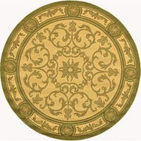 "Safavieh Beaches Scrollwork Natural/ Olive Green Indoor/ Outdoor Rug - 5'3"" x 5'3"" round"
