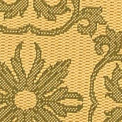 Safavieh Beaches Scrollwork Natural/ Olive Green Indoor/ Outdoor Rug (6'7 Round) - Thumbnail 1