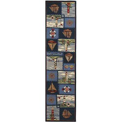 Safavieh Hand-hooked Nautical Blue Wool Runner (2'6 x 12')