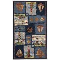 "Safavieh Hand-hooked Nautical Blue Wool Rug - 2'-9"" x 4'-9"""