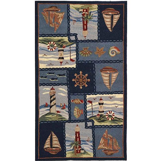 Safavieh Hand-hooked Nautical Blue Wool Rug (3'9 x 5'9)