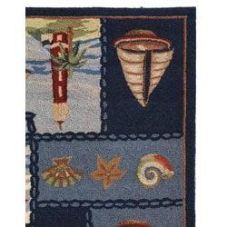 Safavieh Hand-hooked Nautical Blue Wool Rug (3'9 x 5'9) - Thumbnail 2