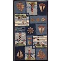 Safavieh Hand-hooked Nautical Blue Wool Rug - 3'9' x 5'9'