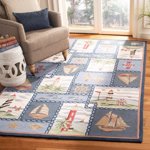 Safavieh Hand Hooked Nautical Blue Wool Rug 3 X27 9