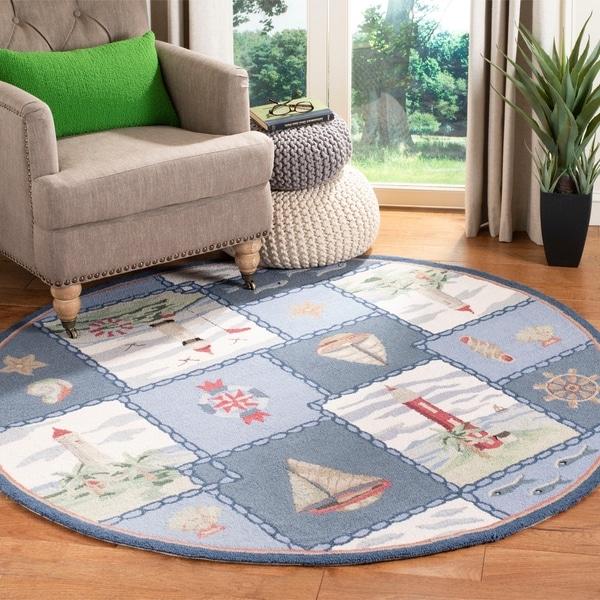 Safavieh Handmade Chelsea Country Blue Wool Rug - 3' x 3' Round