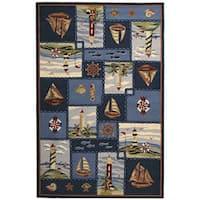 Safavieh Hand-hooked Nautical Blue Wool Rug - 5'3 x 8'3