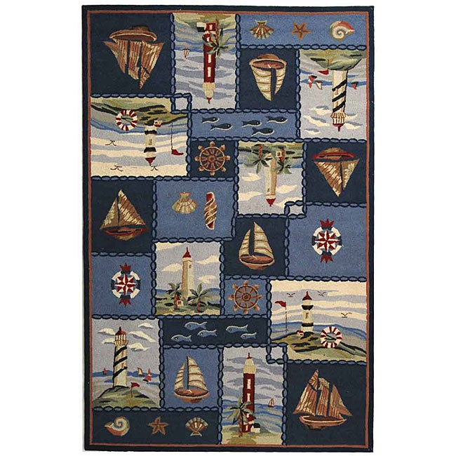 Safavieh Hand-hooked Nautical Blue Wool Rug (6' x 9')