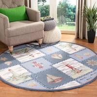 Safavieh Handmade Chelsea Country Blue Wool Rug - 4' x 4' Round