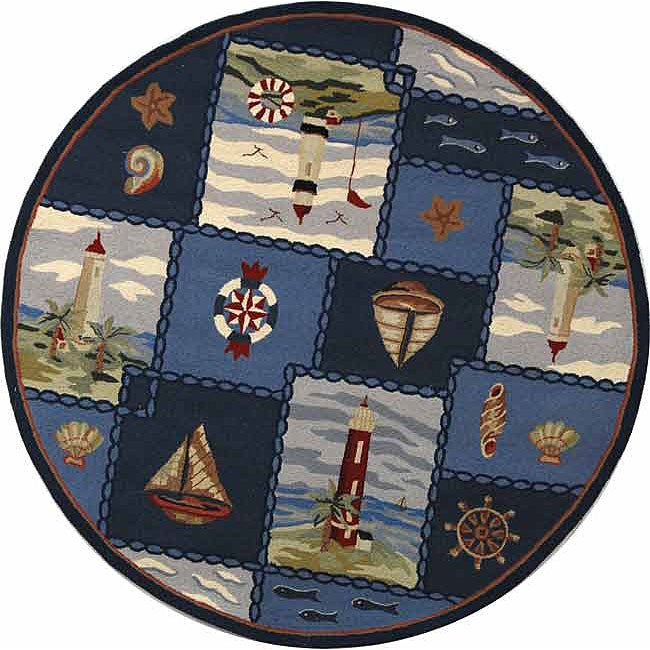 Safavieh Hand-hooked Nautical Blue Wool Rug (5'6 Round) - Thumbnail 0