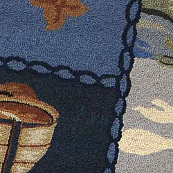 Safavieh Hand-hooked Nautical Blue Wool Rug (5'6 Round) - Thumbnail 1
