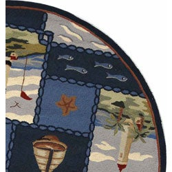 Safavieh Hand-hooked Nautical Blue Wool Rug (5'6 Round) - Thumbnail 2
