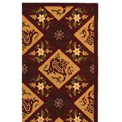 Safavieh Hand-hooked Sonote Red/ Ivory Wool Rug (5'3 x 8'3) - Thumbnail 2