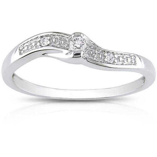 Miadora 10k White Gold Diamond Promise Ring (K-L, I2)