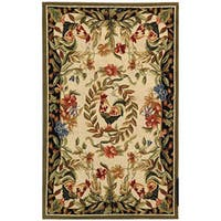 "Safavieh Hand-hooked Rooster and Hen Cream/ Black Wool Runner - 2'6"" x 4'"