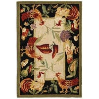 "Safavieh Hand-hooked Rooster Garden Ivory/ Black Wool Rug - 2'9"" x 4'9"""