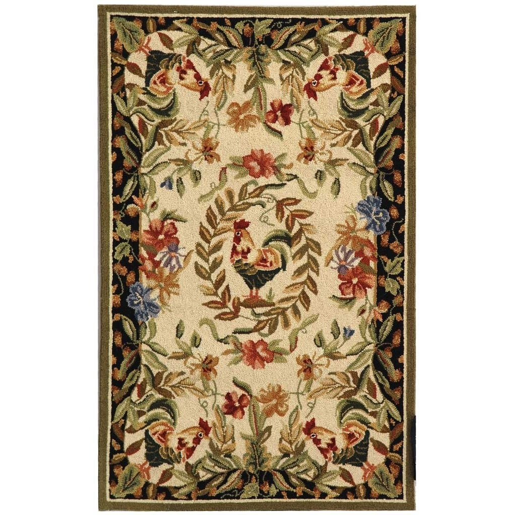 Safavieh Hand-hooked Rooster and Hen Cream/ Black Wool Ru...