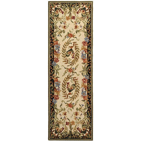 """Safavieh Hand-hooked Rooster and Hen Cream/ Black Wool Runner - 2'6"""" x 8'"""