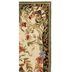 Safavieh Hand-hooked Rooster and Hen Cream/ Black Wool Runner (2'6 x 8') - Thumbnail 2
