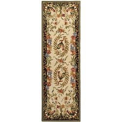 Safavieh Hand-hooked Rooster and Hen Cream/ Black Wool Runner (2'6 x 8') - Thumbnail 0