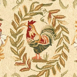 Safavieh Hand-hooked Rooster and Hen Cream/ Black Wool Rug (2'9 x 4'9) - Thumbnail 2